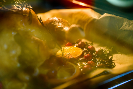 Appetizing Roast chicken turkey with Orange Slices Cranberries and Herbs in the oven.