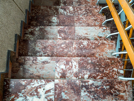 Overhead view of old colourful marble steps Stock Photo