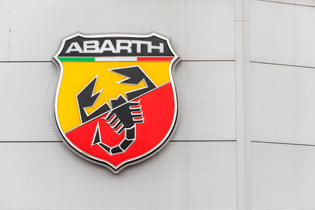 Northampton UK February 03 2018: Abarth Fiat logo sign stand in Northampton Town Centre Editorial