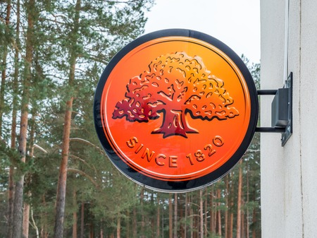 Visaginas, Lithuania - 12 February 2018: Day winter view shot Swedbank Logo Standard-Bild - 98327251