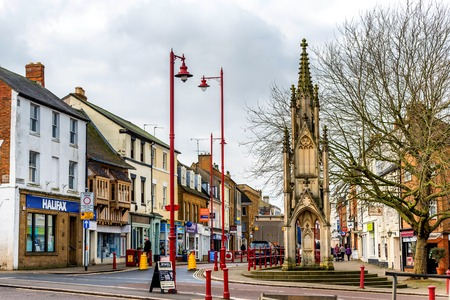 Daventry UK March 13 2018: Day view of Daventry Burton Memorial in town centre