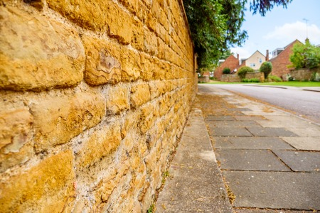 Old English traditional cottage brick wall or fence