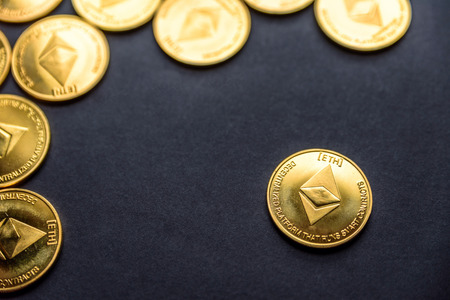 Overhead view Ethereum cryptocurrency coins laid flat Stock Photo