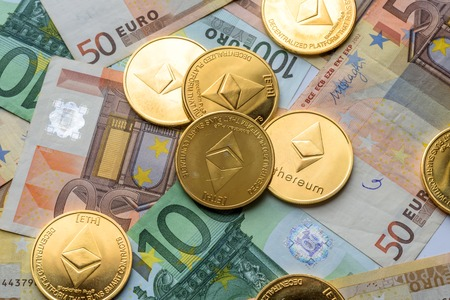 Ethereum coins on Euro notes, future concept financial currency, crypto currency sign