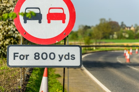 No Overtaking 800 yards Zone sign on UK motorway
