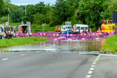 flood road in england blocked for emergency