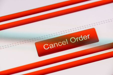 cancel order text button on smart phone screen