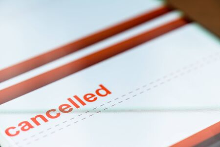 cancelled text on smart phone screen
