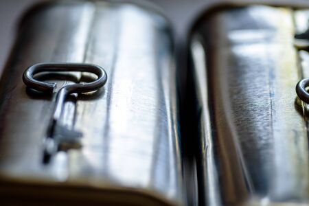canned meat food cans background close up. Stock Photo