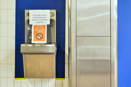 public drinking water fountain is out of service during covid-19 in england uk Stock Photo