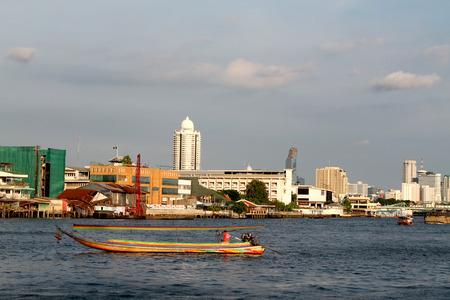 chao phraya: Colorful motor boat on the Chao Phraya River in Bangkok, Thailand Stock Photo
