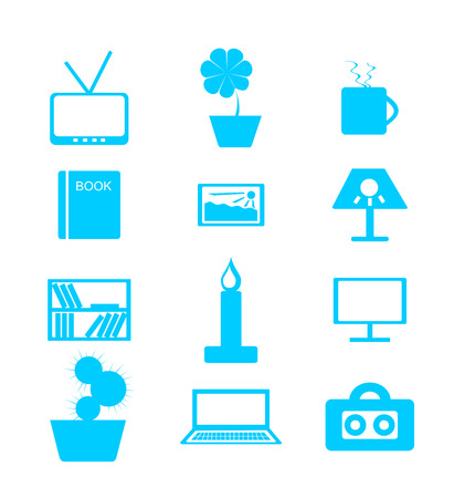 interior decoration: Set of blue icons over white background on the themes: house, interior, decor
