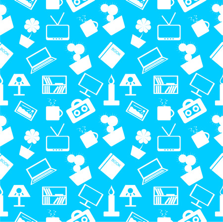 home decor: Seamless pattern over blue background with elements of home decor