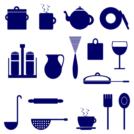 blue white kitchen: Set of icons with elements of kitchen utensils, blue color on a white background