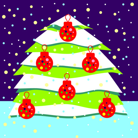 snowcovered: Vector illustration of a snow-covered Christmas tree decorated with red balls on the background of falling snow