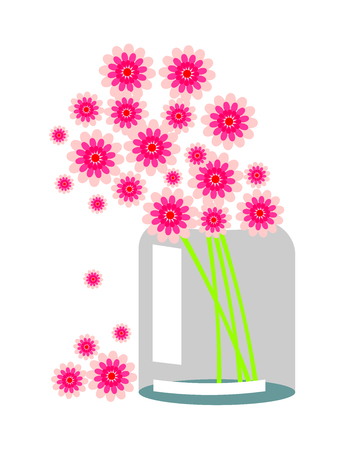 still life flowers: Vector still life. Composition with pink flowers in a transparent bank