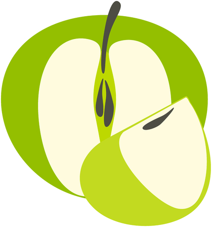green apple slice: green isolated apple with a slice over white background Stock Photo