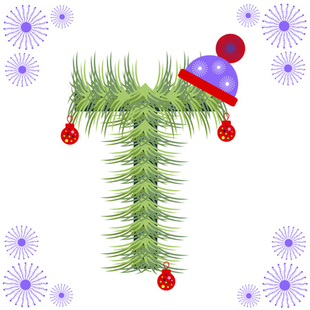 nil: Vector illustration of fir-tree font. Winter alphabet letter. Green stylized figure with Christmas decorations, cap and snowflakes. Series of Letters, Numbers and Symbols.