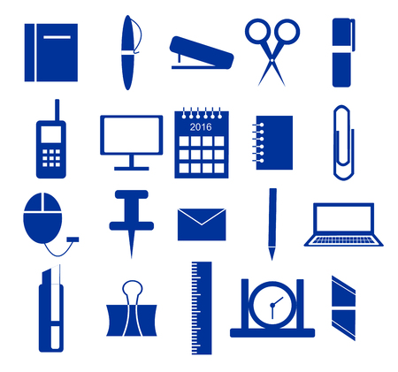 pen icon: Icons, office supplies in blue over white background