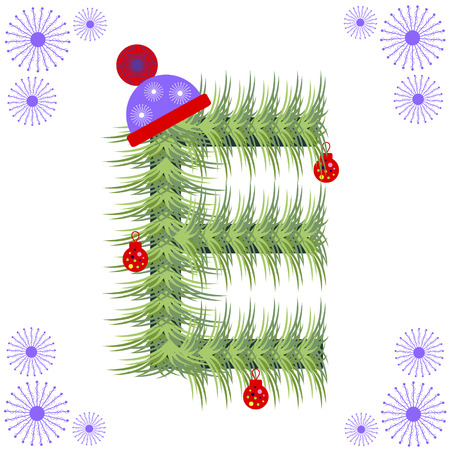 christmas tree decoration: Vector illustration of fir-tree font. Winter alphabet letter. Green stylized figure with Christmas decorations, cap and snowflakes. Series of Letters, Numbers and Symbols.
