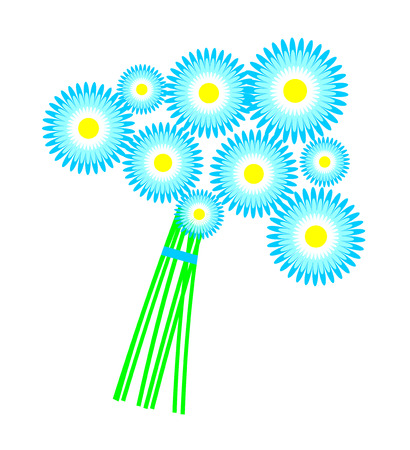 faded: Vector illustration. Bouquet blue daisies isolated over white background