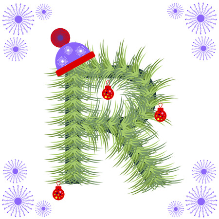 firtree: Vector illustration of fir-tree font. Winter alphabet letter. Green stylized figure with Christmas decorations, cap and snowflakes. Series of Letters, Numbers and Symbols.