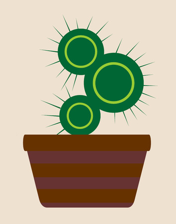 arid: Vector illustration. Home cactus in a pot isolated over beige background
