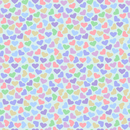 chaotic: Seamless vector pattern, bright colorful chaotic background with hearts