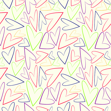 chaotic: Seamless vector pattern, white chaotic background with colorful asymmetrical hearts