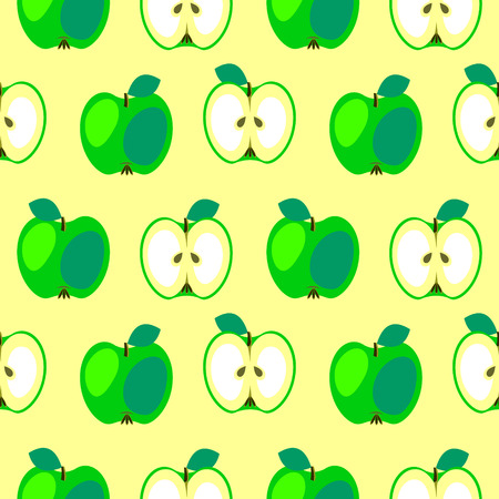 Seamless vector pattern, bright fruits symmetrical background with apples, whole and half over light yellow backdrop. Stock Photo