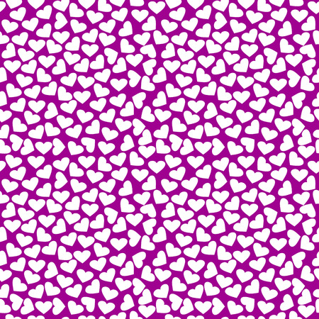 chaotic: Seamless vector pattern, bright violet chaotic background with white hearts