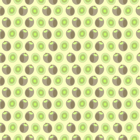 eating in the garden: Seamless vector pattern, mat symmetrical background with elements of kiwi, whole and cut, over light yellow background. Series of fruits and vegetables seamless pattern.