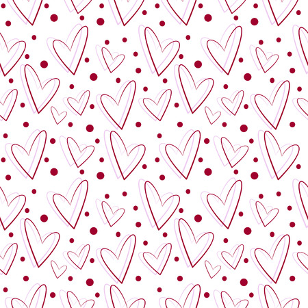 asymmetrical: Seamless vector pattern, white background with red and pink asymmetrical hearts Stock Photo