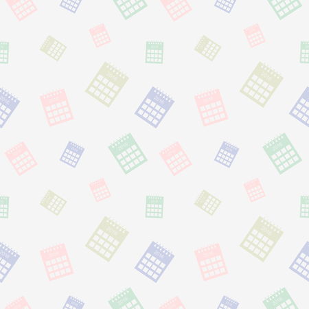 gree: Seamless vector pattern, light pastel colorful chaotic background with calendars Stock Photo