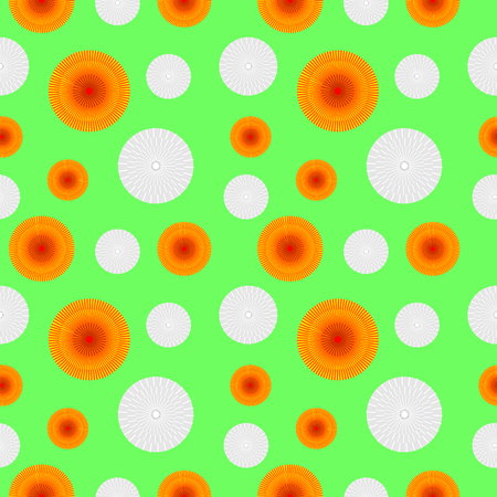 Vector seamless pattern with elements of stylized dandelions, orange and faded gray over light green background Stock Photo