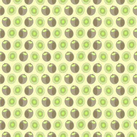 fruit and veg: Seamless vector pattern, mat symmetrical background with elements of kiwi, whole and cut, over light yellow background. Series of fruits and vegetables seamless pattern.