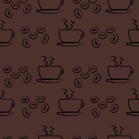 cofe: Seamless vector pattern, dark brown background with cups and coffee beans