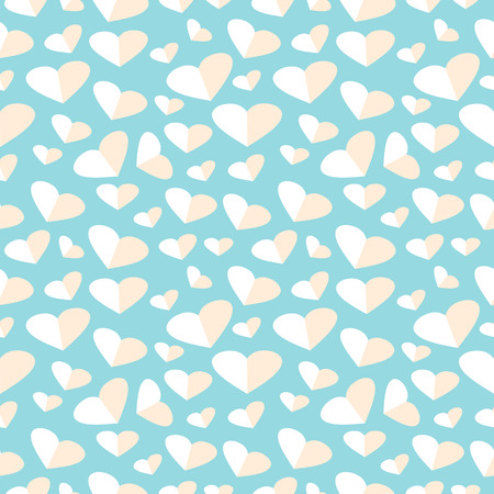 asymmetrical: Seamless vector pattern, blue chaotic background with pink asymmetrical hearts Illustration