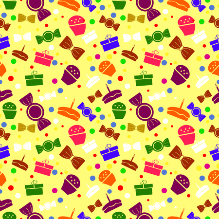 varicolored: Seamless pattern with varicolored sweets and gifts over yellow background