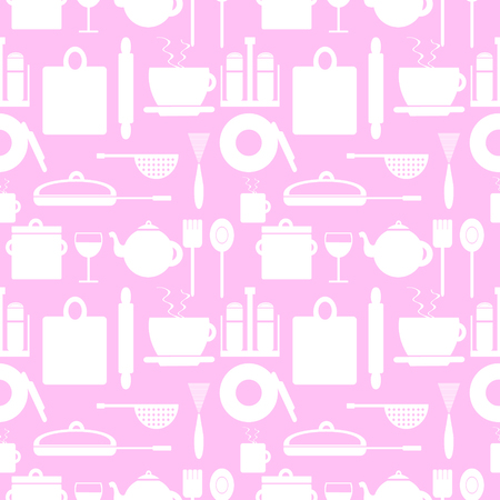 Vector seamless pattern with elements of kitchen utensils white over pink background