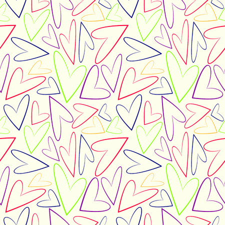 asymmetrical: Seamless vector pattern, white chaotic background with colorful asymmetrical hearts