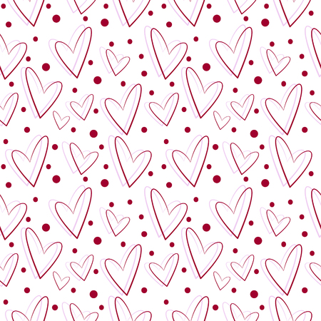 asymmetrical: Seamless vector pattern, white background with red and pink asymmetrical hearts Illustration
