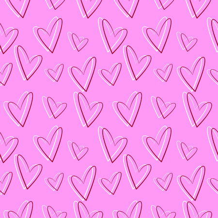 asymmetrical: Seamless vector pattern, pink background with red and white asymmetrical hearts Illustration