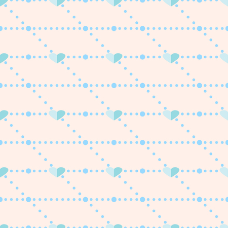 corazones azules: Sin fisuras vector patr�n, Fondo geom�trico sim�trico de color rosa con corazones azules Vectores