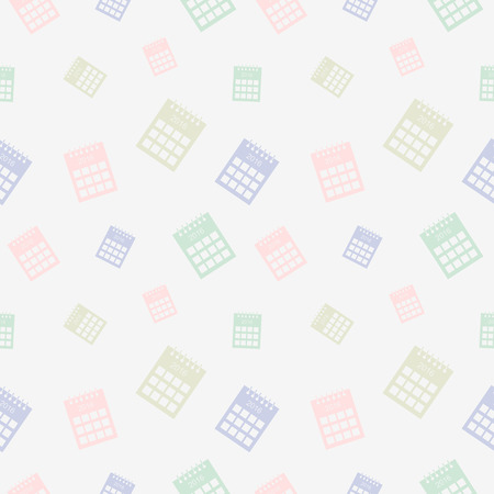 gree: Seamless vector pattern, light pastel colorful chaotic background with calendars Illustration