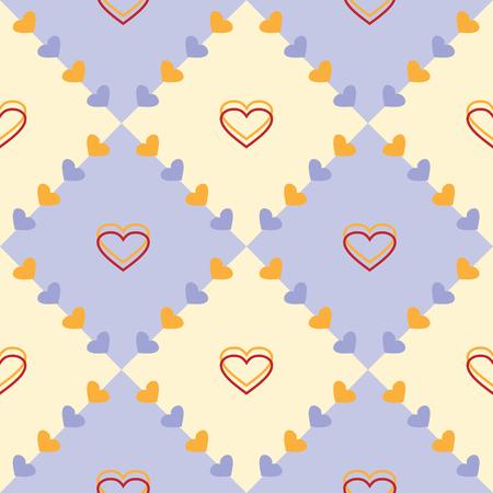 corazones azules: Patrón de vector transparente, azul pastel y el fondo geométrica simétrica amarillo con corazones