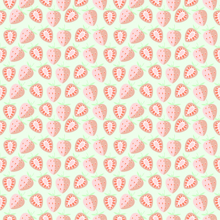 symmetrical: Seamless vector pattern, mat symmetrical background with strawberry, whole and half over light backdrop.