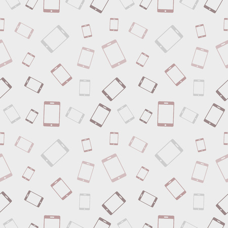 mobile phones: Seamless vector pattern, light pastel colorful chaotic background with smartphones