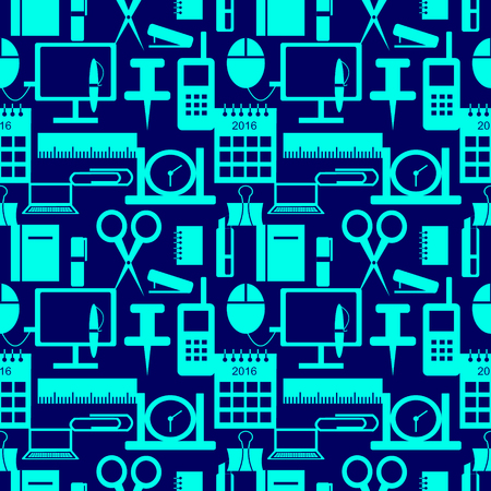 Vector seamless pattern with elements of office supplies in blue over dark-blue background