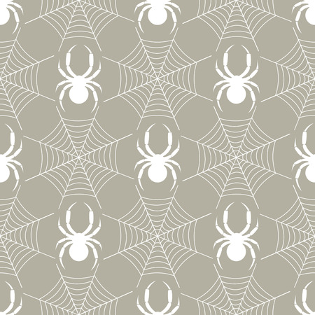spider's web: Seamless vector pattern with insects, symmetrical  geometric pastel background with  white spiders and spiders web, over grey backdrop